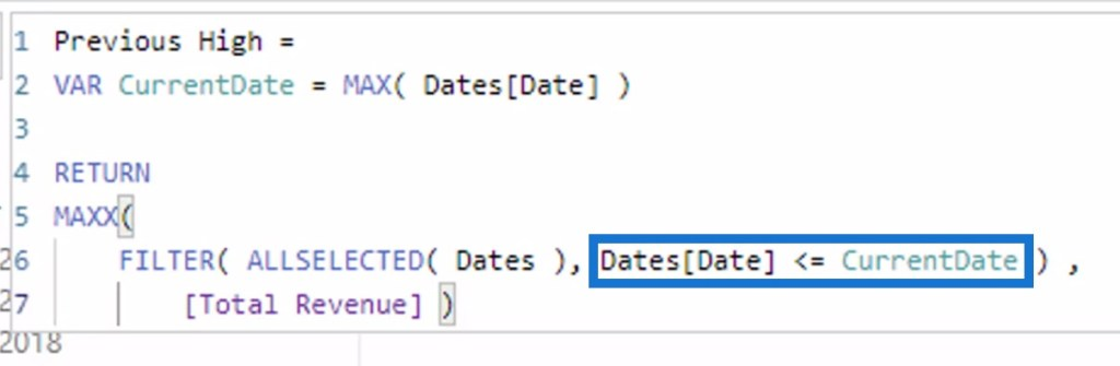 FILTER function in calculating the Previous Highest Result using DAX Functions
