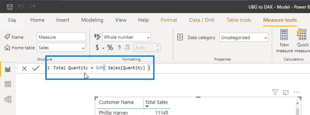 SUM function - Power BI Calculated Column vs Measure