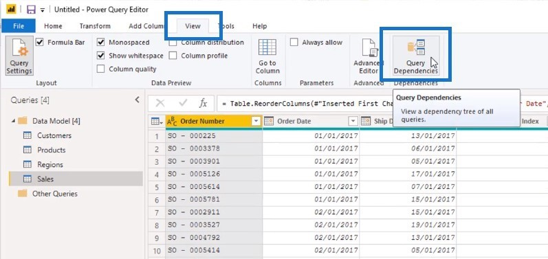 query dependencies power bi