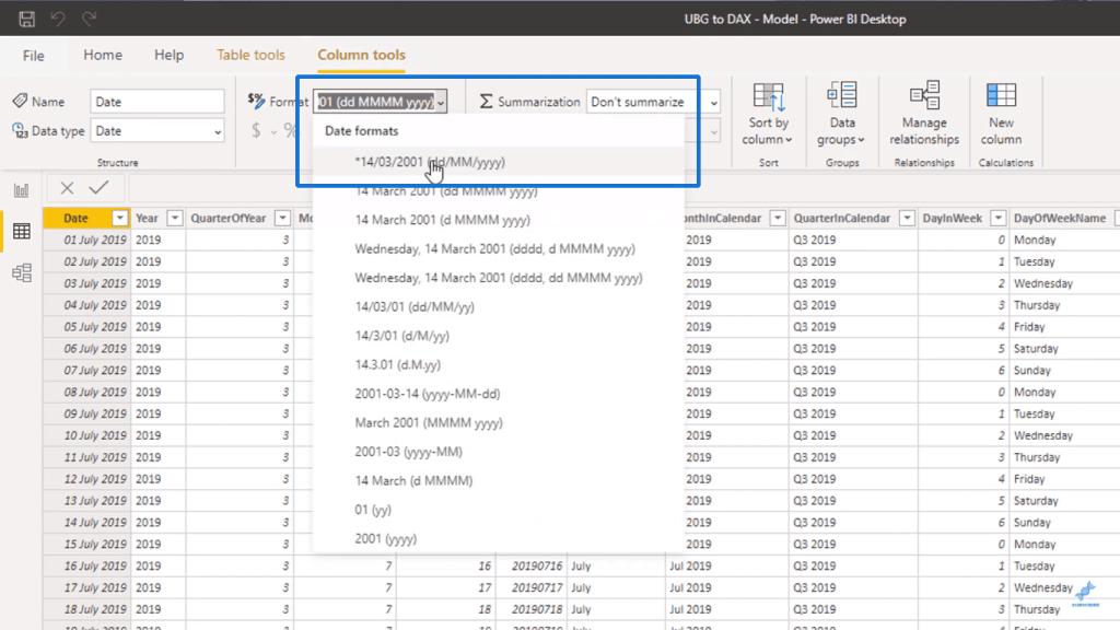 Choosing a new Date format - Power BI Syntax