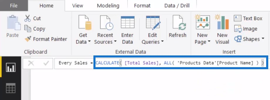 Creating the Every Sales measure - Percent of Total Power BI