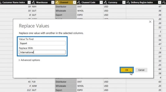 Replace Values window for Power BI Query transformation