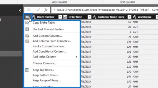 Row Transformations In Power BI Query Editor