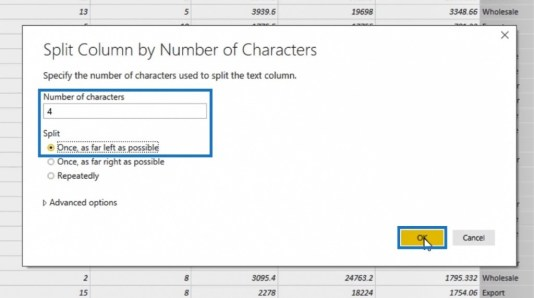 Split Column by Number of Characters window for Power BI Query transformation