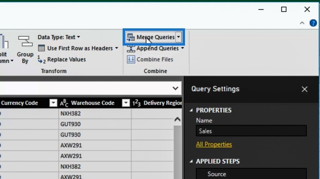merge queries option in Power BI