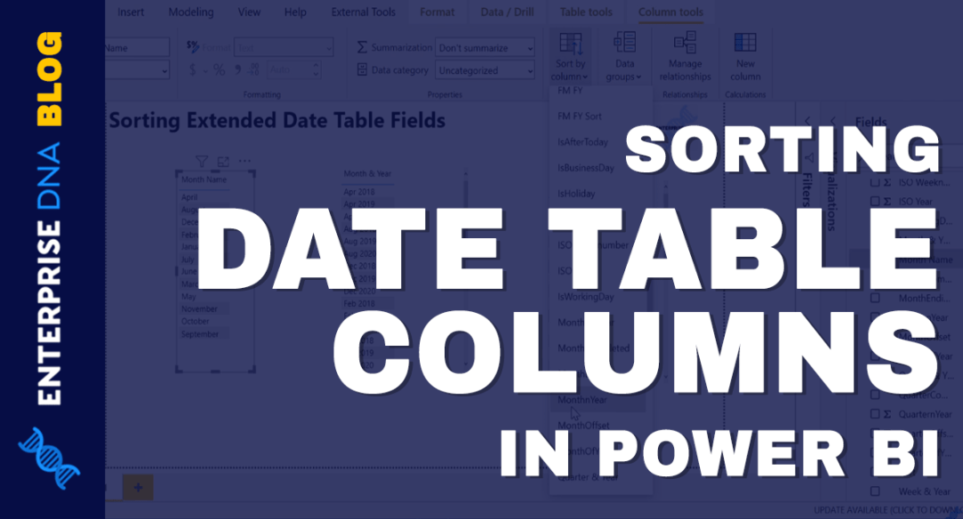 Sorting Date Table Columns In Power BI