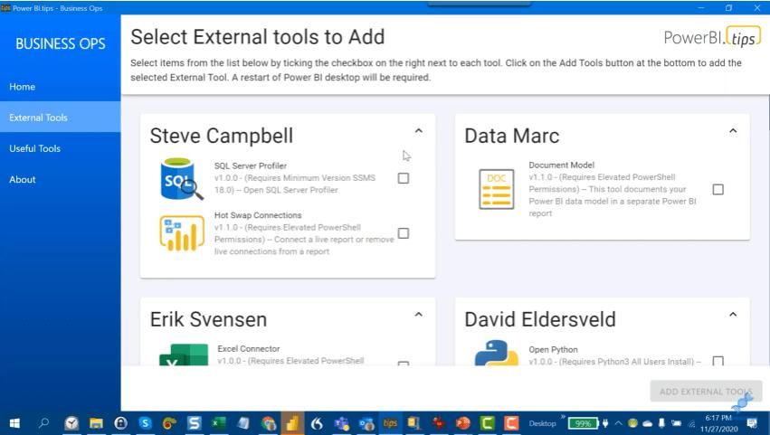 external tools Power BI