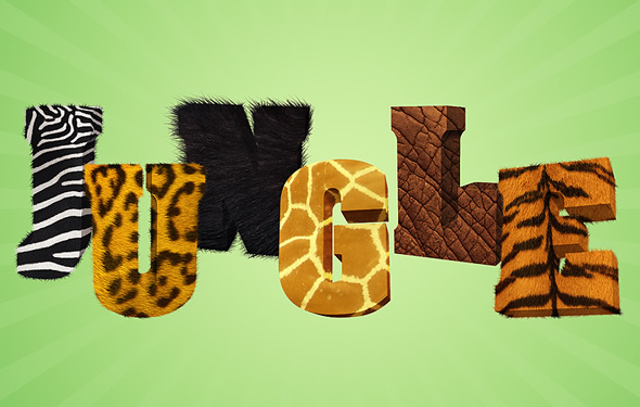 Jungle 3D text in Photoshop