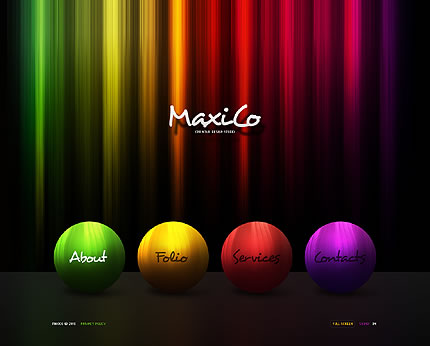 Flash Website Design - Colorful Lines & Circles