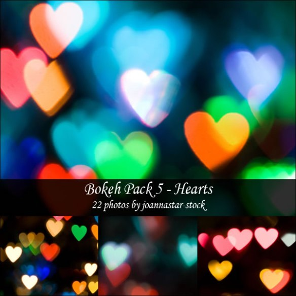 Bokeh Pack 5: Coloured hearts