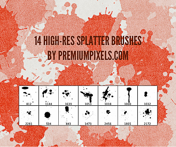 14 High Res Splatter Brushes