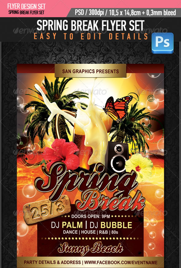 Cool Spring Amp Summer Break Party Flyers Entheos