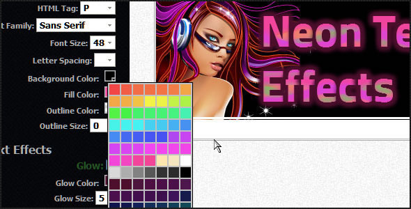 Neon Text Effects jQuery Plugin
