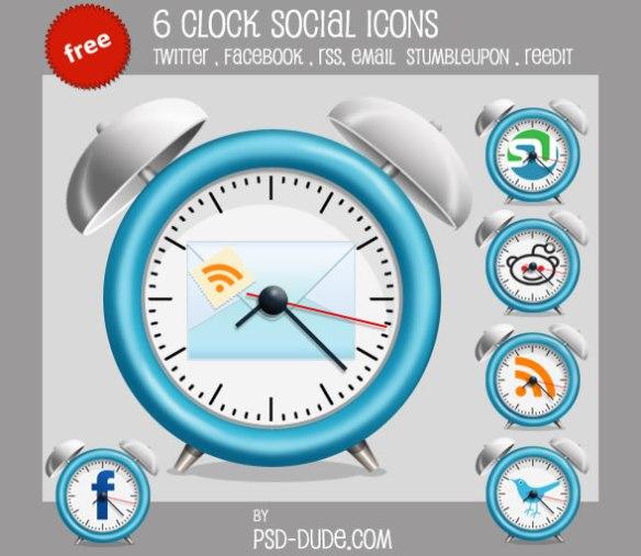 6 Free Clock Social Icons