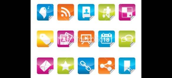 Sticker Shaped Social Media Icon Set