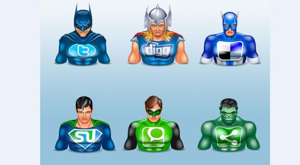 Halloween icons social superheros