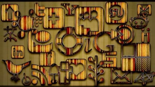Retro Grunge Stripes Social Media Icons