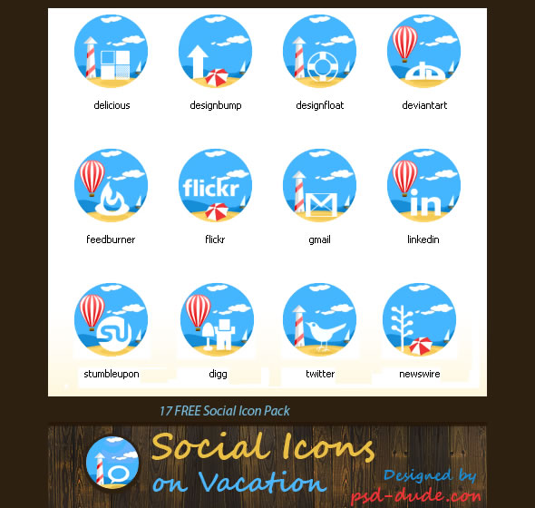 Sea Sand Beach Social Icons Pack for Vacation