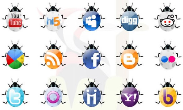 Social Networking Icons using Glossy style Beetles