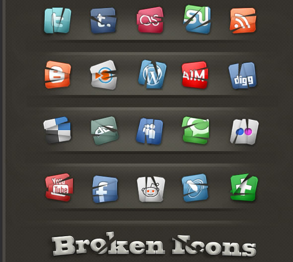 Creative Social Networking Broken Icons Pack