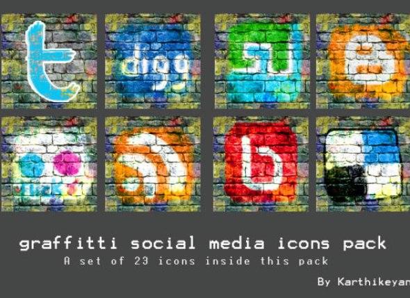 Graffiti Social Media Icons Pack