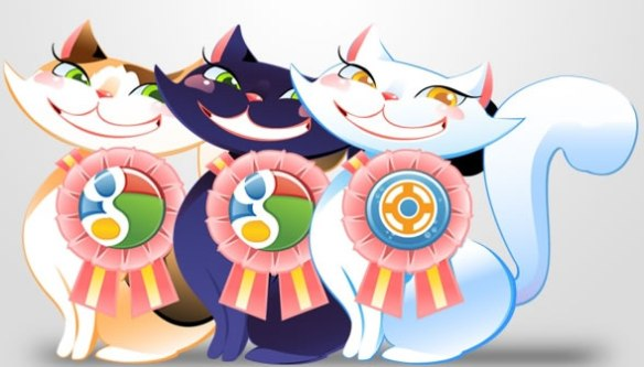 cat character with social media badge