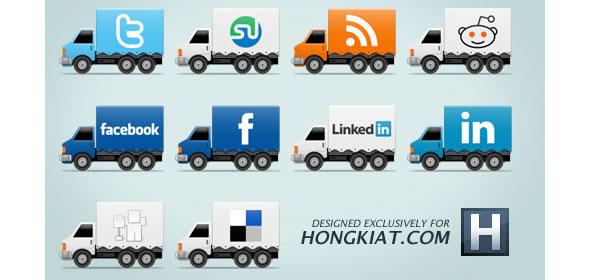 Social Truck Icon Set