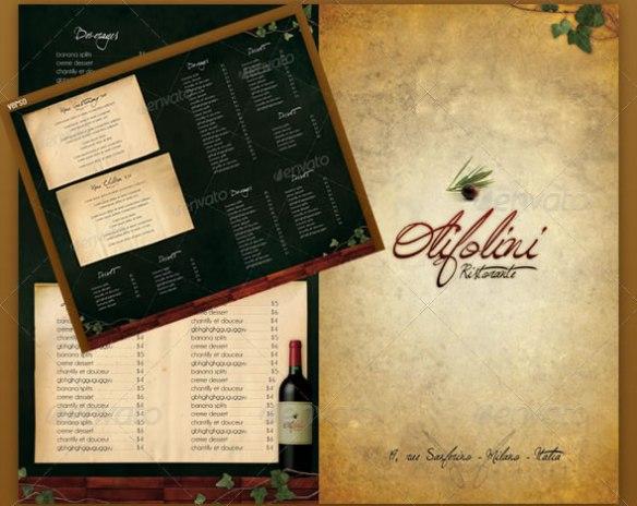 Menu Restaurant L'olivier