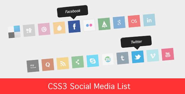 CSS3 - Social Media Icon List