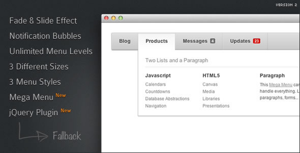 Menu with CSS3 Effects and Notification Bubbles