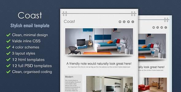 Coast - Stylish Email Template - Tumblog Style