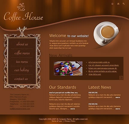 Coffee Theme Flash Website Template