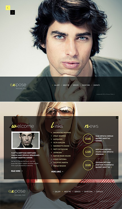 Expose Personal Flash CMS Template