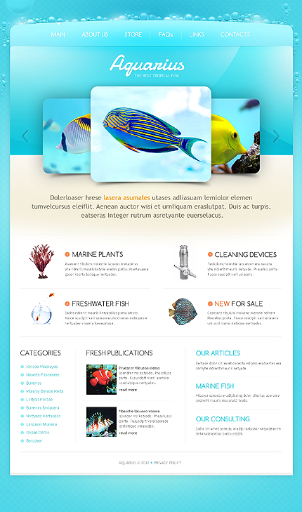 Aquarius Aquarium Website Template
