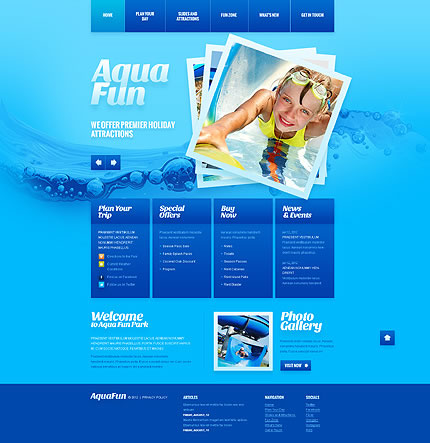 Water Theme Park HTML5 Website Design With Image Slideshow