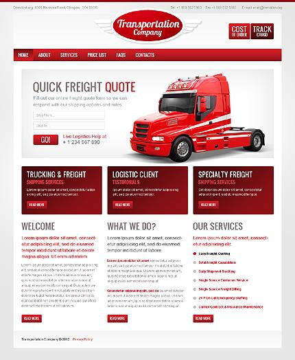 Transportation Company CSS & Flash Website Template - Red & Gray Color Theme