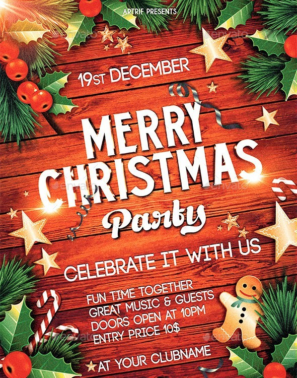 Christmas Flyer With Wooden Textured Background