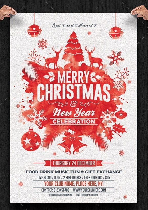 Christmas and New Year Flyer Template - Red Watercolor Painting Design with Reindeer, Christmas Tree, Bells and Baubles