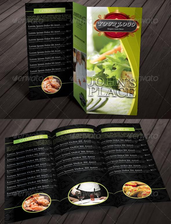 Tri-fold Restaurant Food Menu Template Bundle 02