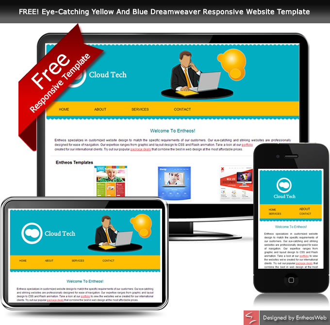 FREE! Eye-Catching Yellow And Blue Dreamweaver Responsive Website Template