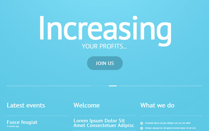 Template 47010 - Business Responsive WordPress Theme with Portfolio and Blog, Turquoise Blue and White, Icons and Graphics