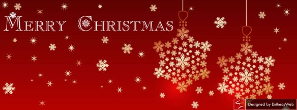 Red with golden color themed christmas facebook timeline cover