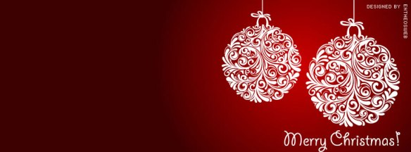 Designer Christmas baubles in red background