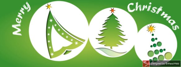 Green Christmas Trees in White Circles