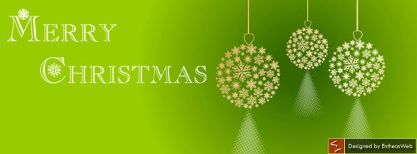 Christmas baubles in green background