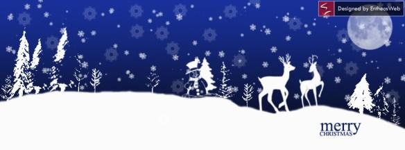 SnowMan and deer in dark blue background