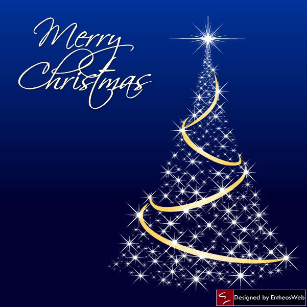 Sparkling Dark Blue Christmas Tree