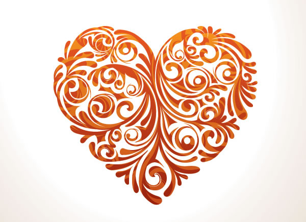Floral Heart Vector Graphic
