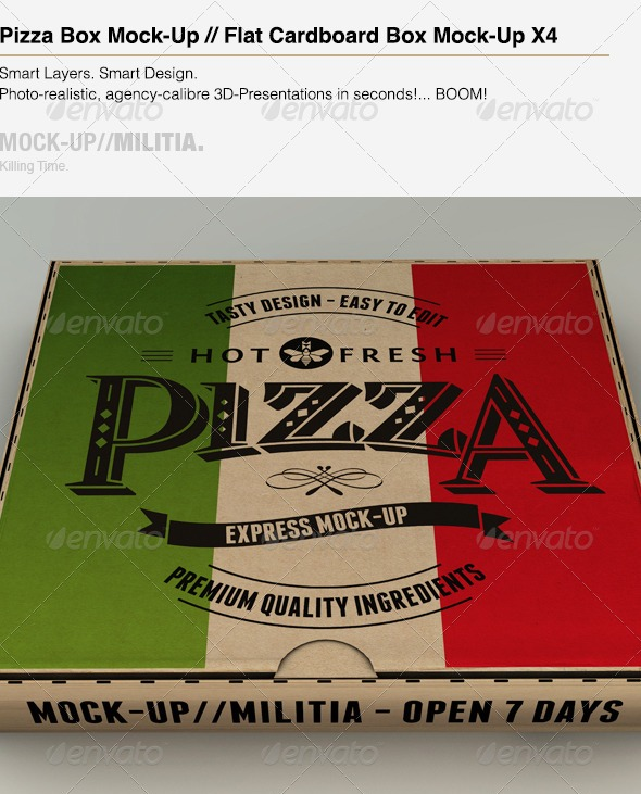 Pizza Box Mock-Up & Plain Cardboard Box Mockup