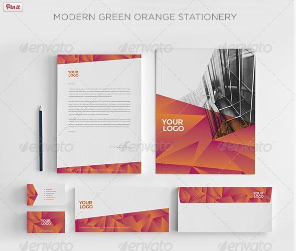 Print Templates Modern Green Orange Stationery GraphicRiver